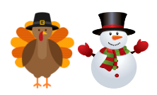 turkey and snowman