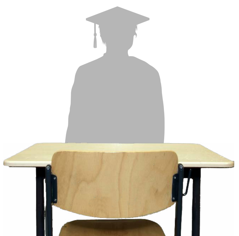 emtpy desk and grad silhouette